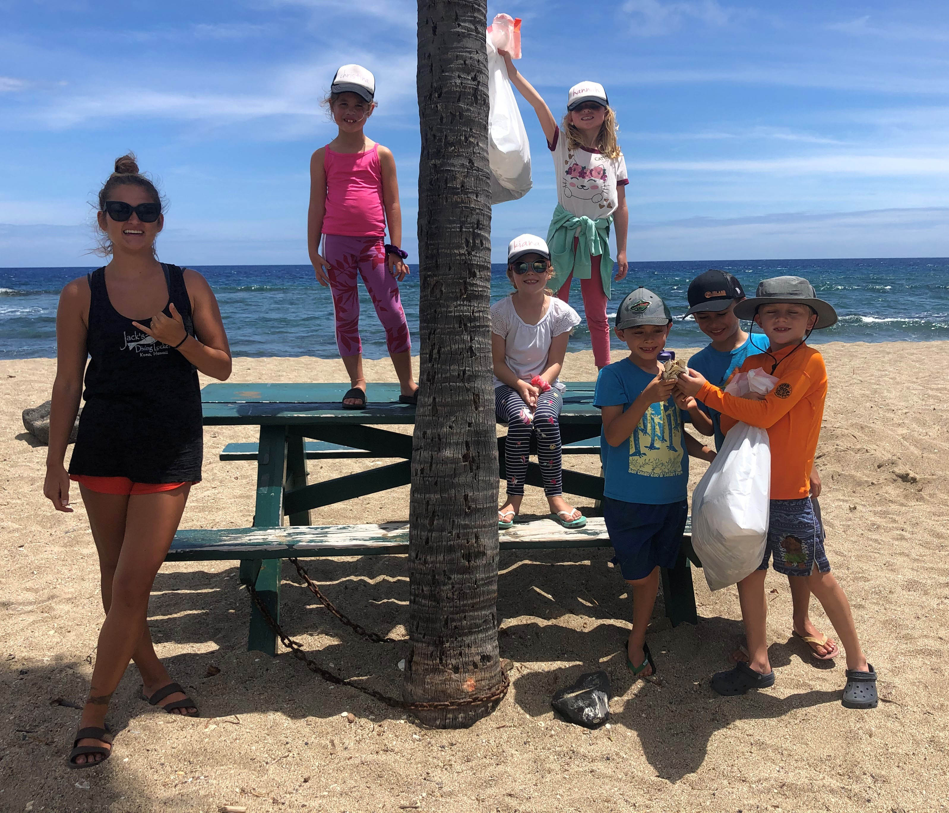 Camp beach cleanup