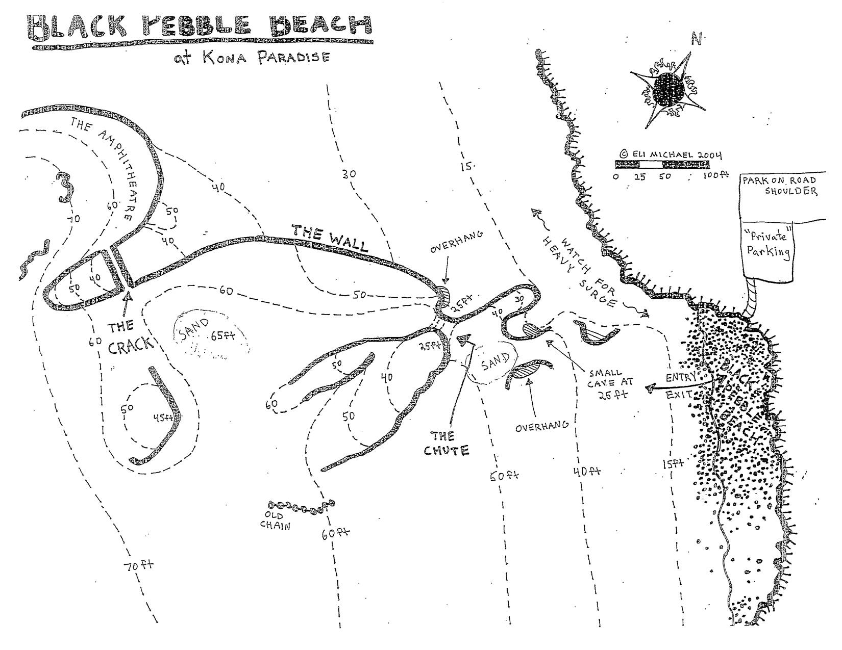 Two Step Dive Site Map, Big Island Hawaii