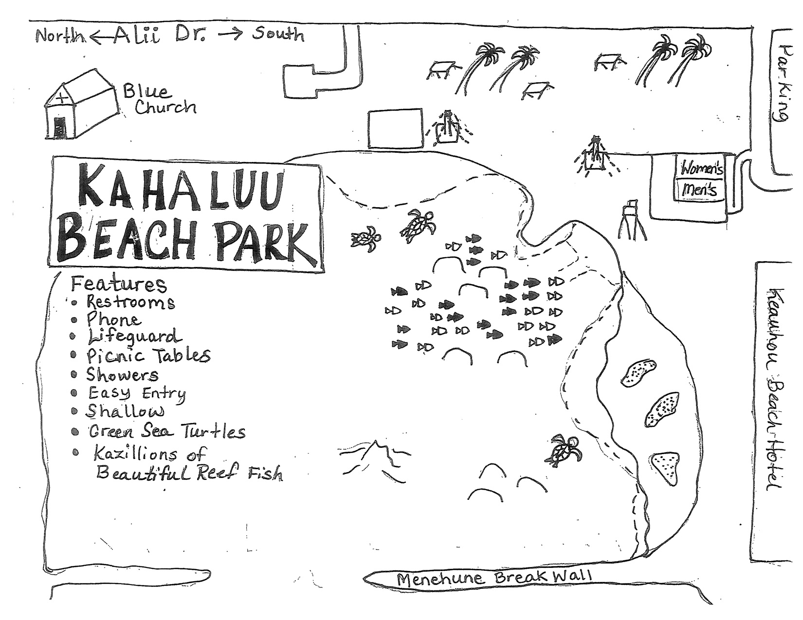 Kahaluu Dive Site Map, Big Island Hawaii