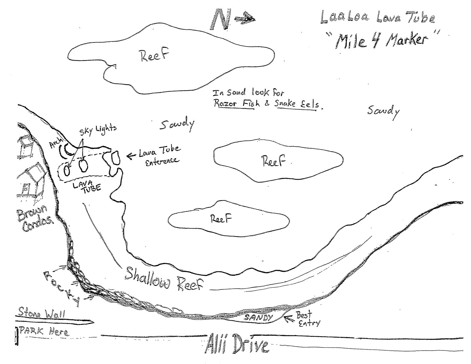 La'aloha Dive Site Map, Big Island Hawaii