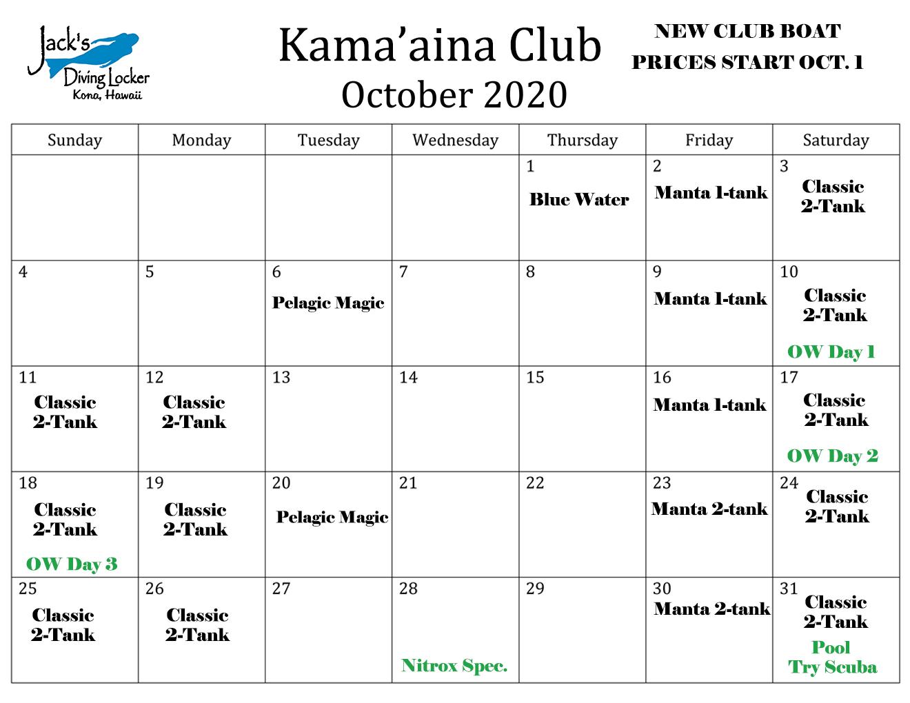 Club October 2020 Calendar