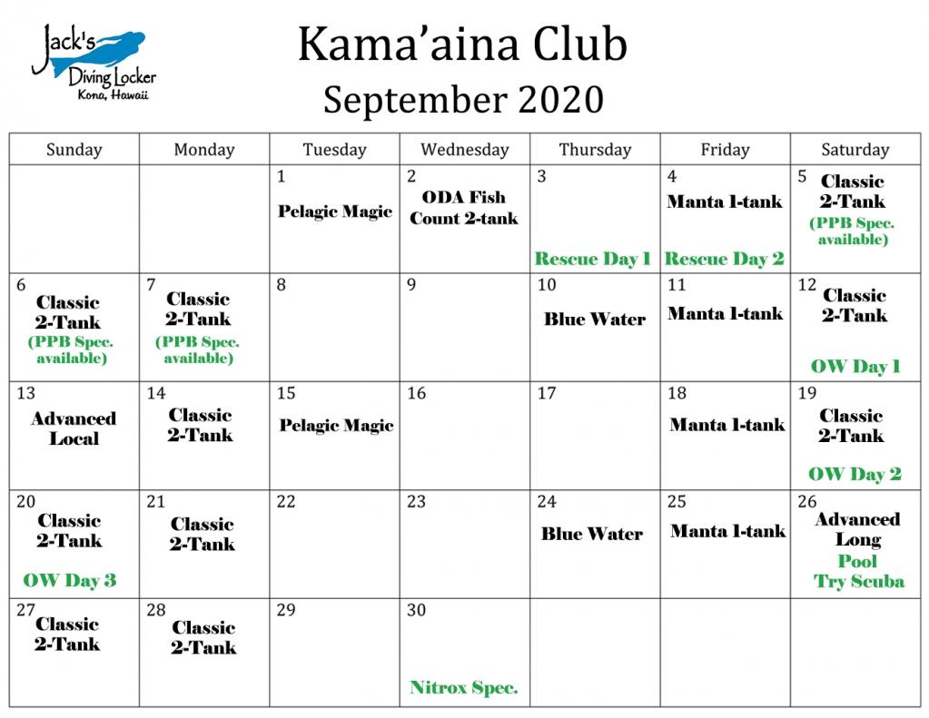 Club Sept 2020 Calendar